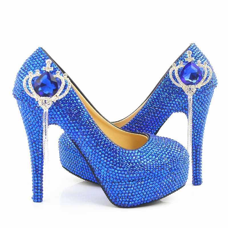 Mariée Heels Couronne Pompes Bleu blue 2018 Haut Strass Stiletto Royal 5cm Robe Dropshipping De Cristal 8cm Blue Heels Chaussures Talons Mariage Bal 14cm 11cm zwwSqx8UW