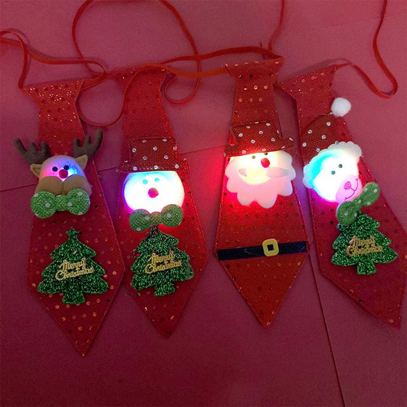 LED Lights Christmas Tie Dress Glow Sequins Santa Claus Bear Snowman Elk Necktie Children Cartoon Tie Decoration New Year Gift