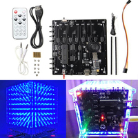 1Set 8x8x8 LED Cube 3D Light Square Blue LED Electronic DIY Tool Kit Gift