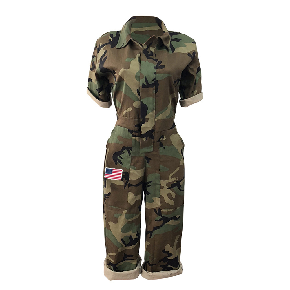 Women Short Sleeves Camouflage Print American Flag Casual Mid Short Camouflage   Jumpsuits   Size Plus Fashion 2019 New Spring