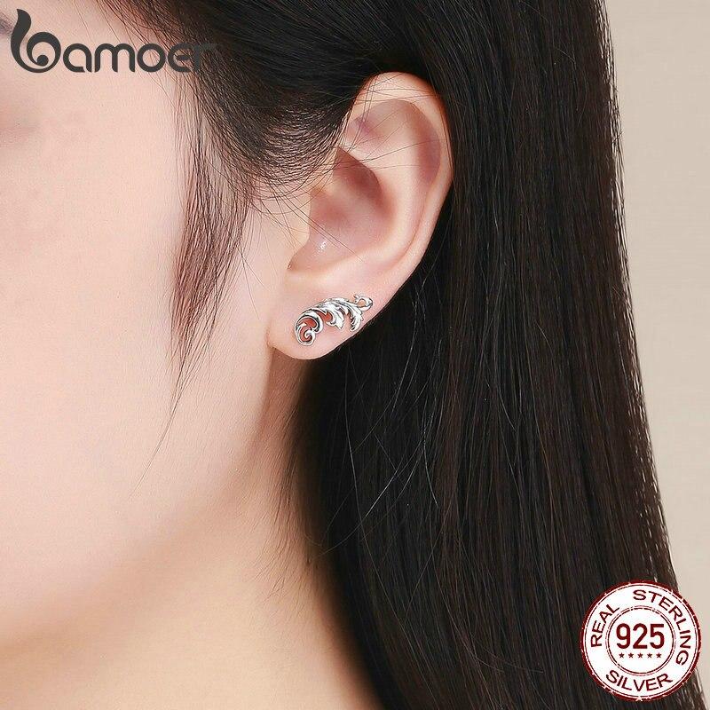 BAMOER Vintage 925 Sterling Silver Retro European Stud Earrings Twisted Line Women Earrings Sterling Silver Jewelry SCE580