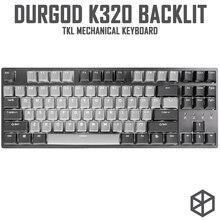 Durgod 87 corona k320 teclado mecânico, cereja mx interruptores pbt teclado duplo quente, marrom, azul, preto, vermelho, prata