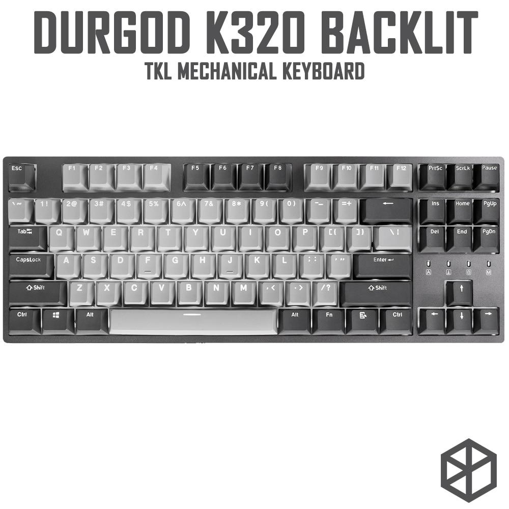 Механическая клавиатура durgod 87 corona k320 с подсветкой, переключатели cherry mx, pbt doubleshot, колпачки для ключей, коричневый, синий, черный, красный, сере...