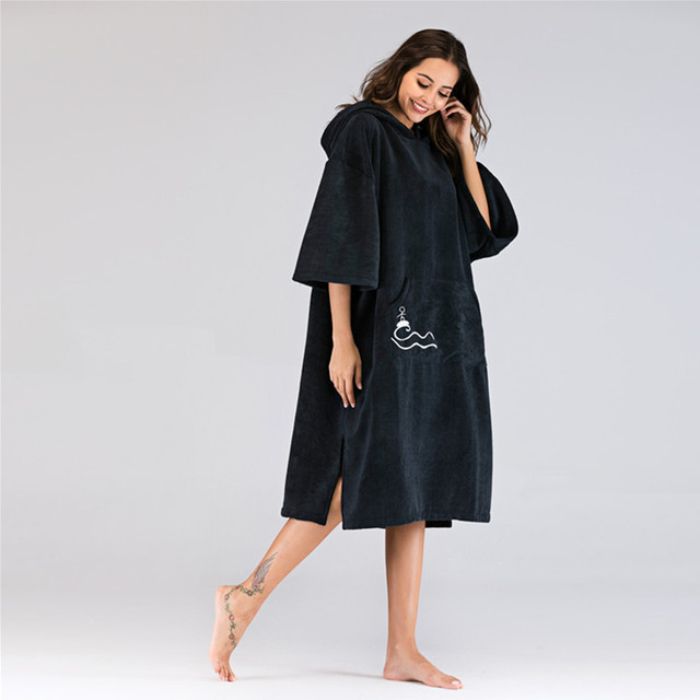 60d43be8d77a74 Beachmood Solid Color Changing Robe Surf Poncho Towel Wet Hoodie Cloak  Beach Dress For Adult 110x75cm