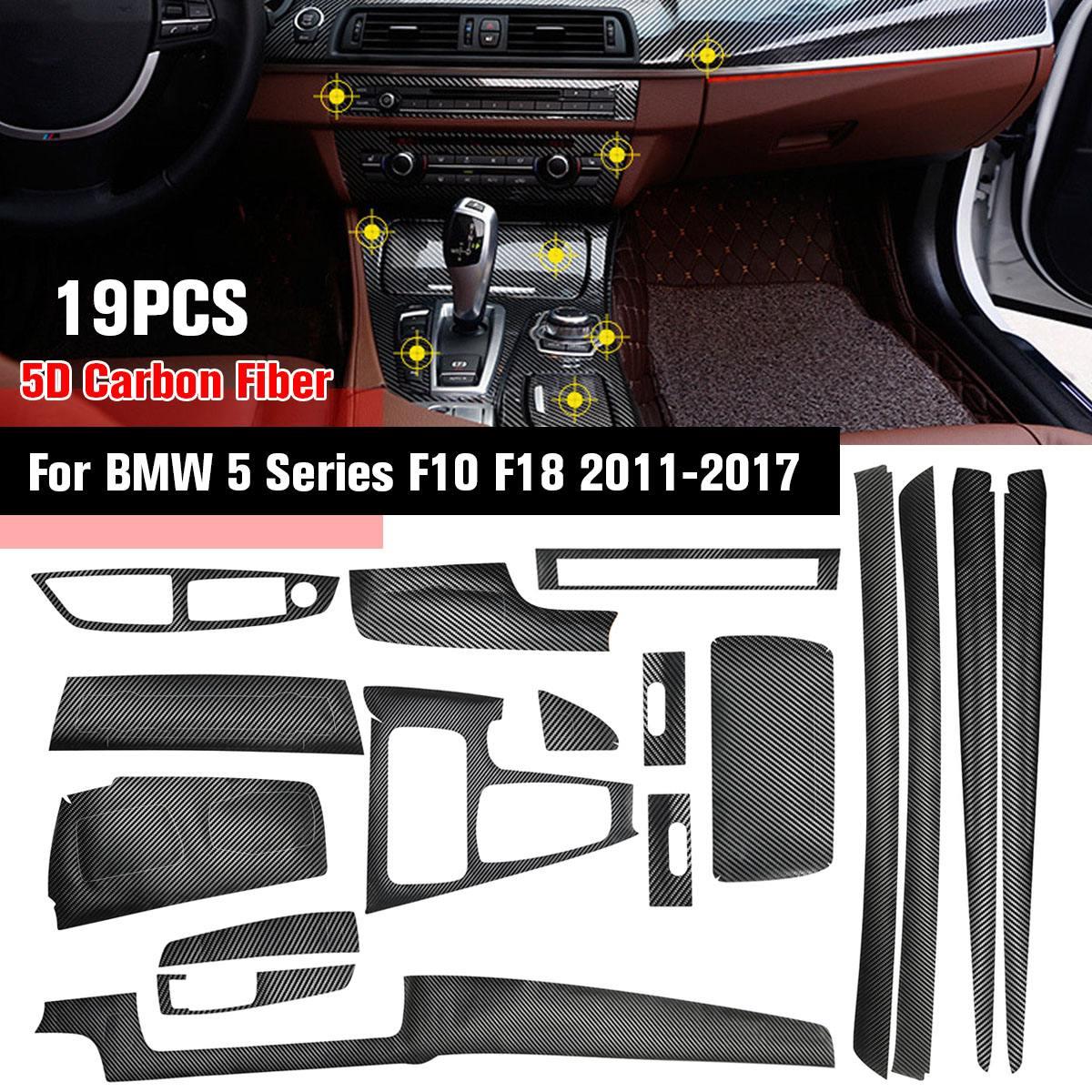Glossy Reflective 5D Carbon Fiber Interior Sticker Vinyl Interior Decal Trim For BMW 5 Series F10 F18 2011-2017 19Pcs