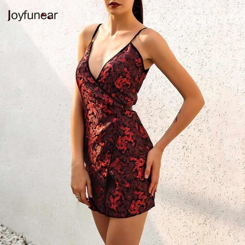 d161fb73f Joyfunear Newest Women Dress Chinese Style Embroidery Sexy V-Neck Elegant  Bodycon Mini Dress Vintage