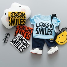цена на Summer Children Boys Girls Clothing Baby Fashion Smiley Face T-shirt Pants 2Pcs/Set Kid Sport Infant Clothes Toddler Tracksuit
