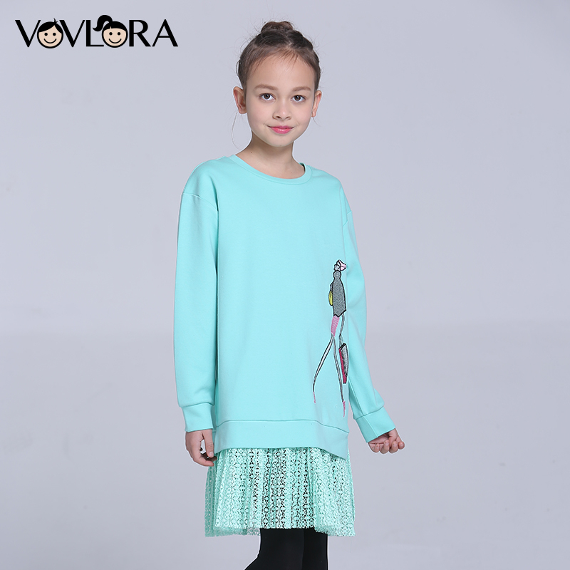 Girls T-shirts Dress Cartoon Print Kids T-shirt Dress Lace O-neck Children Clothes Loose Spring 2018 Size 9 10 11 12 13 14 Years цена 2017
