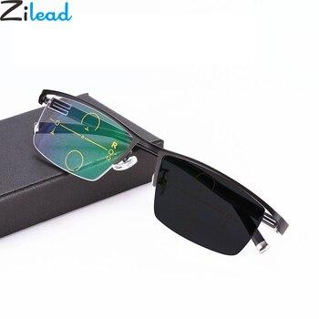 4bfd5c070b Zilead ultraligero medio marco sol fotocrómico Multifocal gafas de lectura  transición hombres gafas hiperopía presbicia con funda