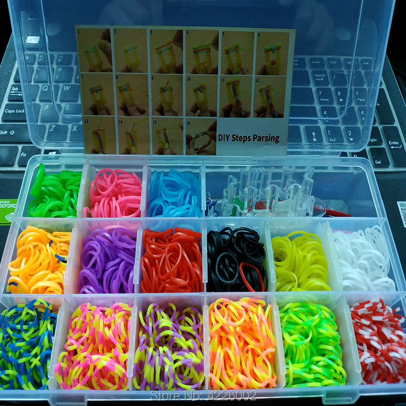 Elastic Rubber Loom Bands DIY Fool Set Box Weave Gum Bracelet Handicraft Kit Girl Gift Children Kids Toys For Teenage 8 10 Years