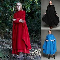 2019 New Fashion Women's Button Open Front Long Sleeve Longline Cape Blazer Jacket Cloak