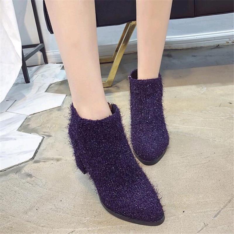 purple Mujer Viento De Zapatos Corto 2019 Grueso Británico Tubo Otoño Poco Martin Black Botas Nuevo Salvaje Con brown 8qwx5xT