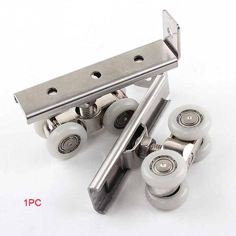 Stainless Steel Sliding Door Roller Home Room Wardrobe Wood Door Hanging Wheels Hardware Kit For Furniture Hardware Wheel #1018 bqlzr wardrobe door cabinet door hardware stainless steel roller pulley small hanging rail with 4 wheels pack of 2