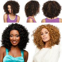 Natural Hair Wig Short Hair Big Curly Hairpieces Short Curl Synthetic Fiber Hair Ladies  Curly Hair Wig