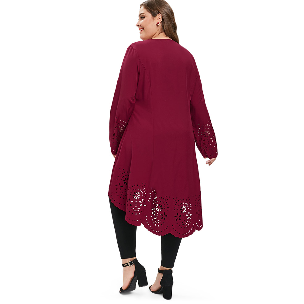 Wipalo Women Dress Solid Color O Neck Long Sleeves Laser Cut High Low Dress  Plus Size Women Clothing Casual T-Shirt Dresses 5XL