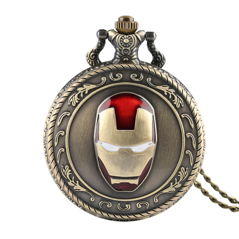 Skyrim Mens Pocket Watch Iron Man Head Appearance And Quartz Pocket Watches Arabic Numeric Scale Pocket Watch With Necklace