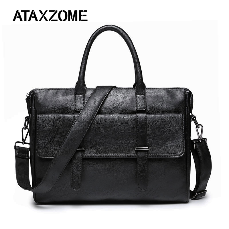 ATAXZOME Brand Men's Briefcase Quality PU Leather  Fashion Business Briefcase For Men Laptop Bag Man Shoulder Bags DS4015