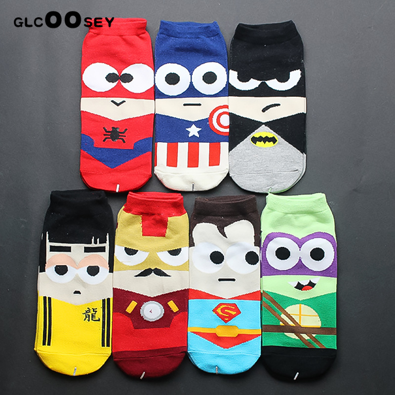 7 Pairs/Pack Men Socks Cotton Superman Batman Bruce Lee Iron Man SpiderMan Captain America Avenge Male Short Sock Cartoon Socks