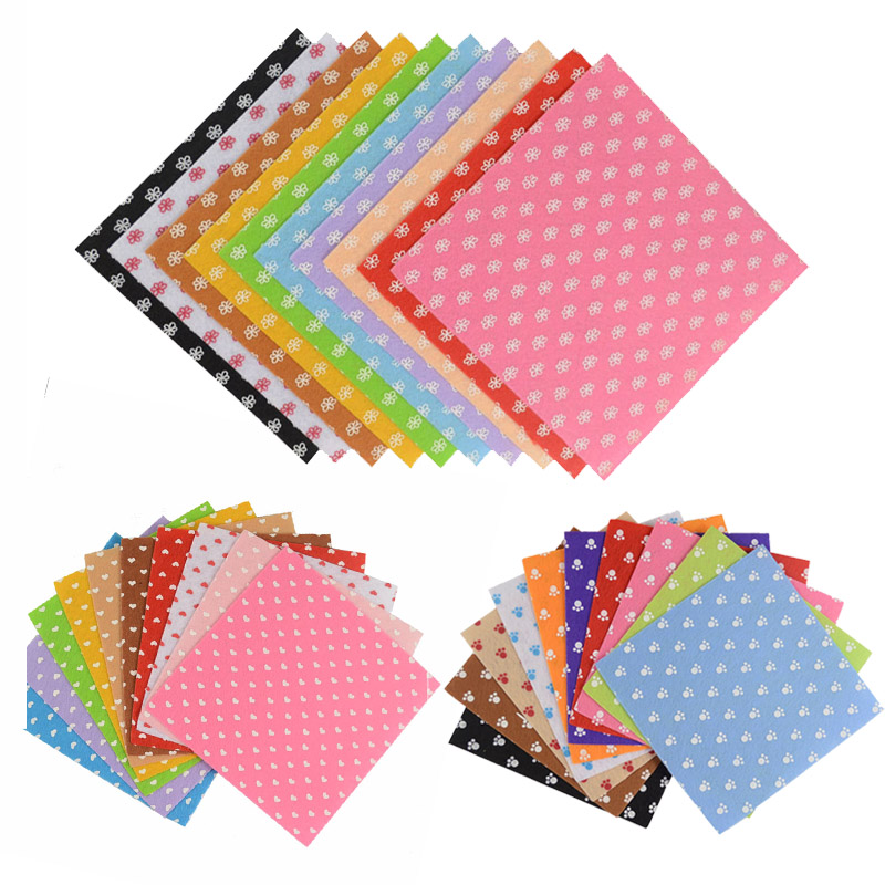 Polyester Cloth Felt DIY Craft 15x15cm Pattern Bundle Sewing Dolls Crafts Home Decor Non Woven Fabric Home 1mm Thickness