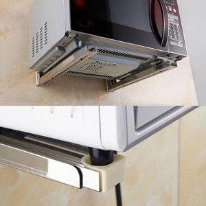 Image 2 - Edelstahl Mikrowelle Faltbare Ofen Regal Rack Unterstützung Rahmen Stretch Einstellbare Wand Halterung Halter Küche Lagerung