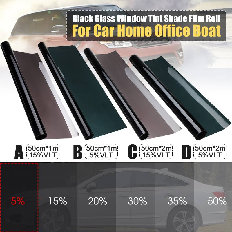 5%/15% VLT Black Car Home Glass Window Tint Tinting Film Roll Scraper Dark Black Window Tint Film Sheet Glass