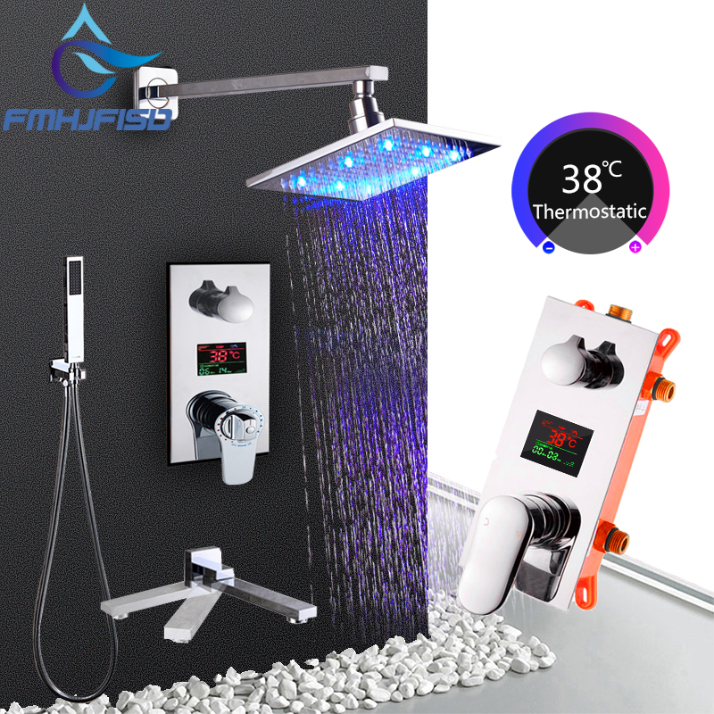 16 Temperature Digital Display Bath Shower Faucets Triple Thermostatic Valve Bathroom Faucets LED Shower Head Chrome