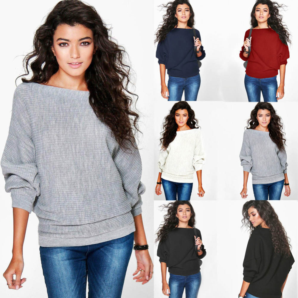hot sale fashion Womens  winter autumn Batwing Sleeve Knitted Pullover Loose Sweater Jumper Tops Knitwear