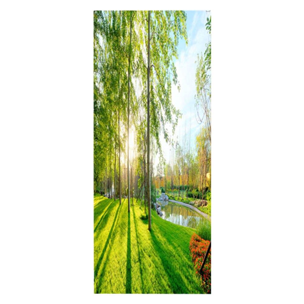 1 Pc 3d Pool Gras Tür Aufkleber Abnehmbare Selbst Klebe Tapete Tür Wandbild Tür Abziehbilder Für Home Dekoration In Den Spezifikationen VervollstäNdigen
