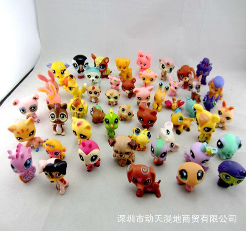 5pcs//Lot Littlest Pet Shop Lps aleatório Gato Cachorro Cocker Spaniel Brinquedo Presente De Natal
