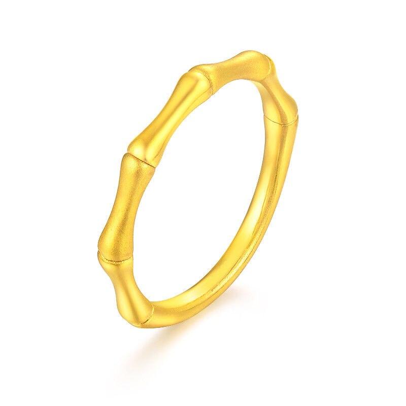 Bague solide en or jaune 24K en forme de bambou, bague pour femme, taille 5-9, meilleur cadeau de sécurité