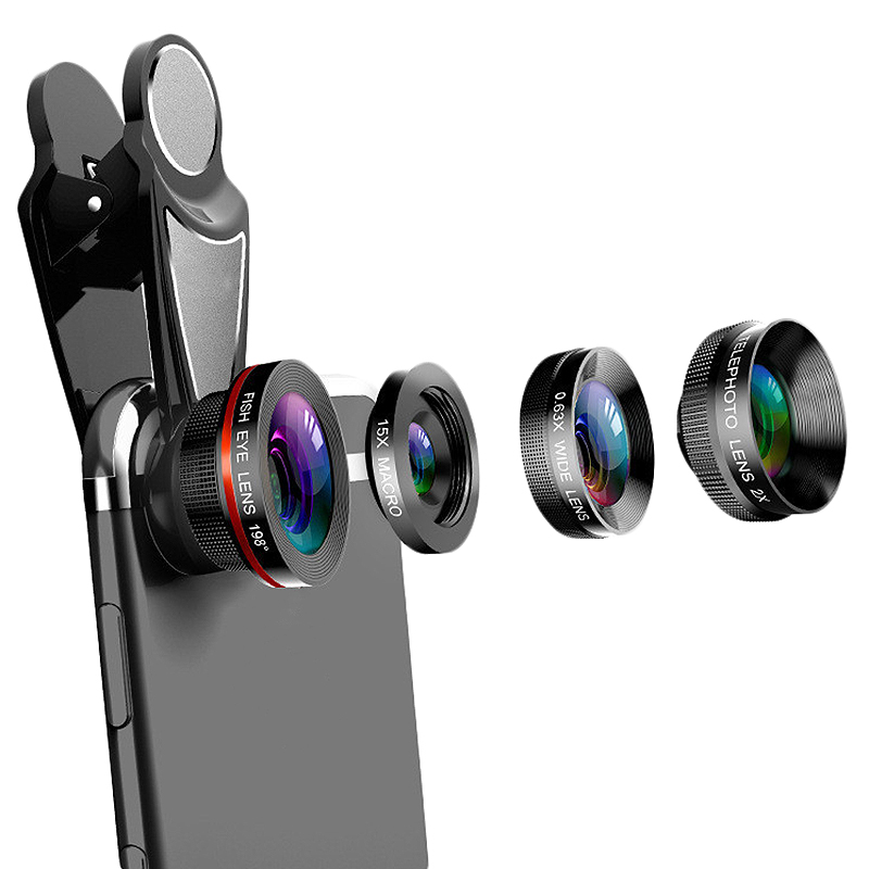 4 In 1 Phone Lens 0.63X Wide Angle Macro Fish Eye Telephoto Zoom Lens For Samsung S8 S9 Plus Phone Camera Lens Kit-in Camera Lens from Consumer Electronics