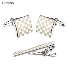Lepton Classic Square Silver Laser Stripe Bussiness Mens Cufflinks Tie Clips Set High Quality Necktie Pin Tie Bars Clip Clasp все цены