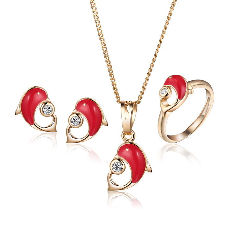 Baby Kids Jewelry Sets Ring Earrings Pendant Necklace Gold