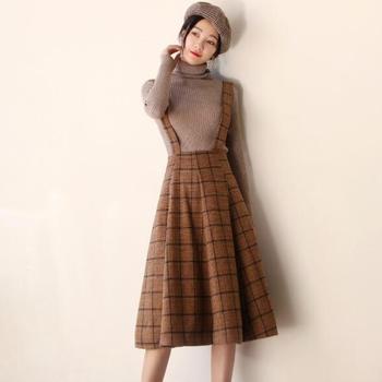 Japón Mori niña vestido nuevo otoño y el invierno de la moda mujer sin  mangas chaleco marrón lana escocesa Vestidos de la correa de espagueti  Vestidos 86d4ba7ae6bd