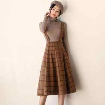 Japan Mori Girl Sundress Autumn Korean Fashion Women Sleeveless Vest Brown Plaid Woolen Winter Dresses Spaghetti Strap Vestidos - DISCOUNT ITEM  30% OFF All Category