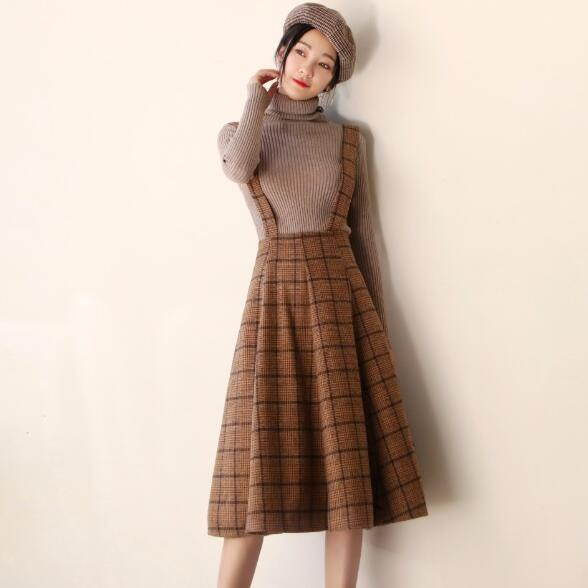 Japan Mori Girl Sundress New Fashion Autumn and Winter Women Sleeveless Vest Brown Plaid Woolen Dresses Spaghetti Strap Vestidos