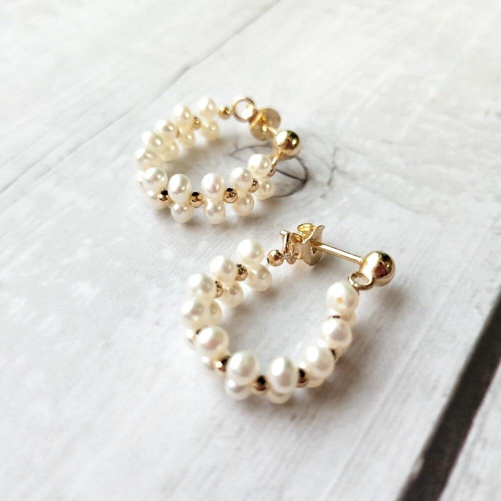 Boucles d'oreilles en perles d'eau douce LiiJi uniques Style dentelle 925 boucles d'oreilles en argent Sterling couleur or bijoux fantaisie