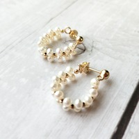 LiiJi Unique Real Freshwater Pearl Stud Earrings Lace Style 925 Sterling Silver Gold Color Earrings Fancy Jewelry