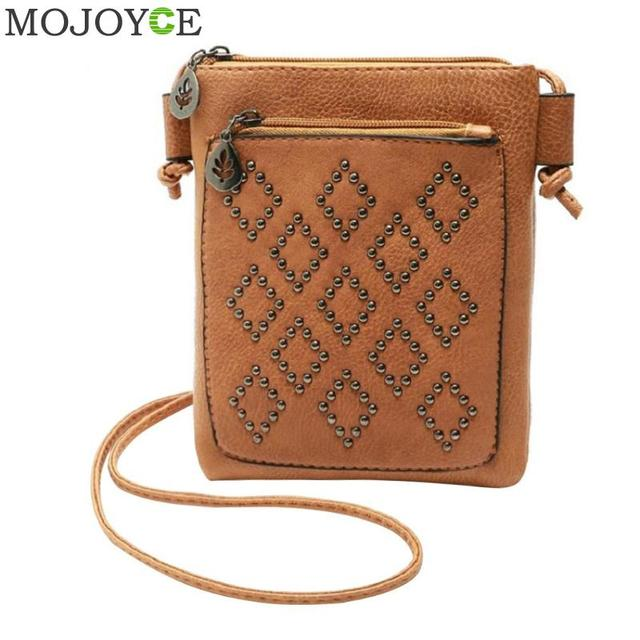 65f3a8d9d243 Vintage Rivet Sling Women Crossbody Bag Fashion PU Girls Casual Shoulder  Bag Female Messenger Bags carteras y bolsos de mujer