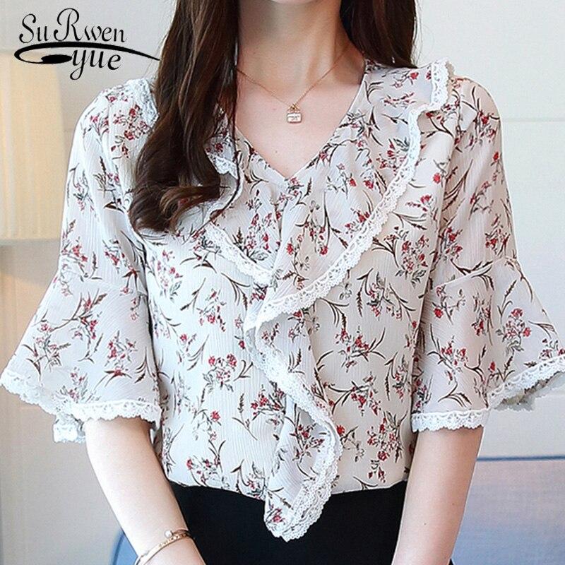 new summer print chiffon women blouse shirt fashion 2018 short sleeve women's clothing sweet plus size women tops blusas D860 30