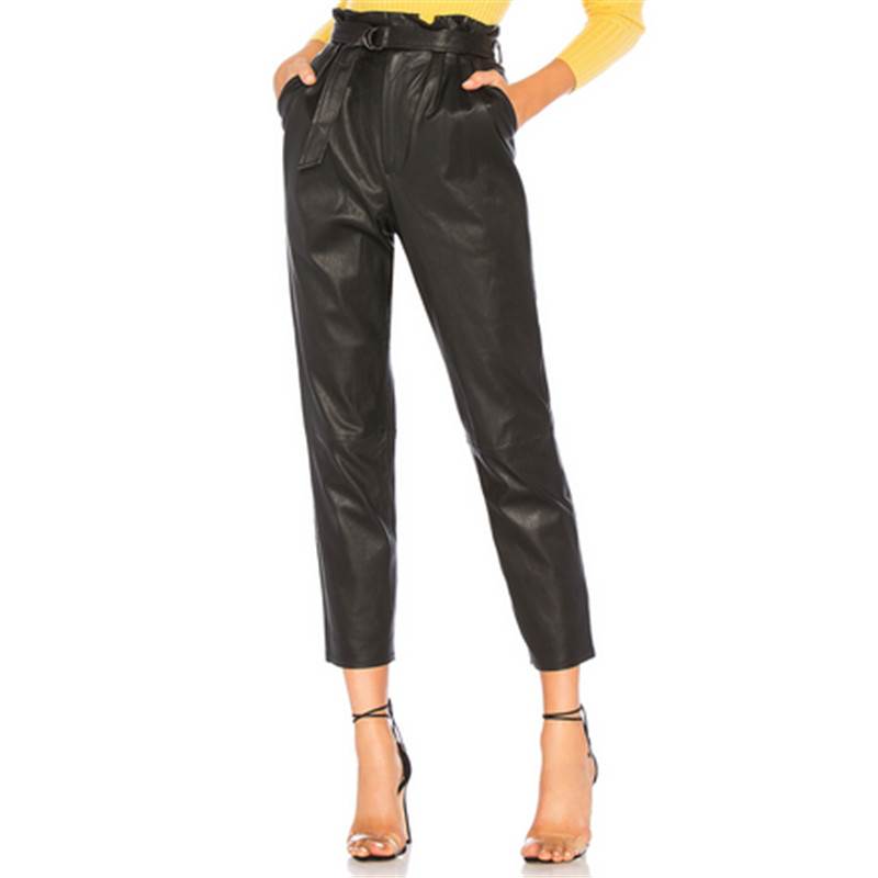 2018 Spring Black PU Leather Pants Women Plus Size Trousers Women Faux Leather Stretch Pencil Pants High Waist Pant With Belt