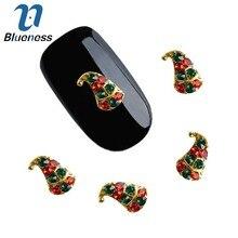 10 шт./партия, 3D блестящая длинная Рождественская шляпа, красный и зеленый стразы, дизайн для маникюра, сделай сам, аксессуары для дизайна ногтей, украшения TN2109