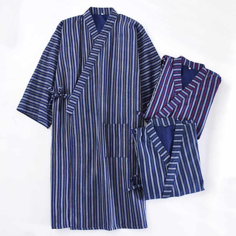 QWEEK Stripe Mens Robe Cotton Kimono Blue Mans Bathrobe Japan Style Male  Robes 2019 Spring Autumn 451ca63a8