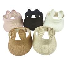 Folding Bunny Baby Summer  Hat Straw Visor Cap Kids Cute Adjustable Sun for Boys/Girls
