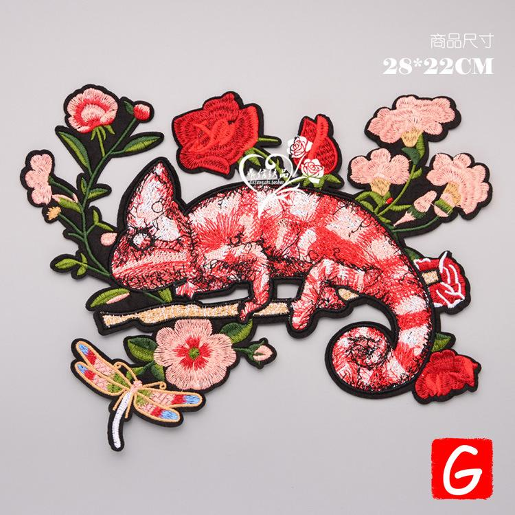 GUGUTREE embroidery big chameleon patches animal badges applique for clothing DX-98