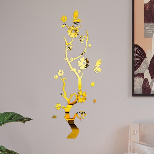 3D Wall Sticker Modern Lotus Non-toxic removable Flower Acrylic Mirror DIY Art Wall Sticker Mural Decal Creative Home Decor 3
