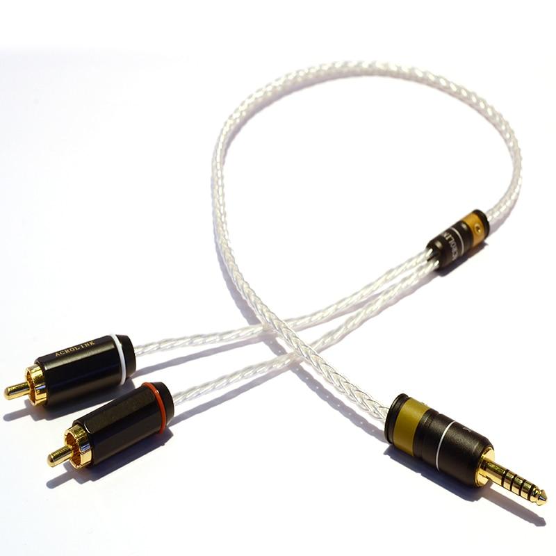 Fil d'argent monocristallin GEOFOX 8 cœurs 3.5mm/4.4mm/2.5mm équilibré au câble Audio RCA