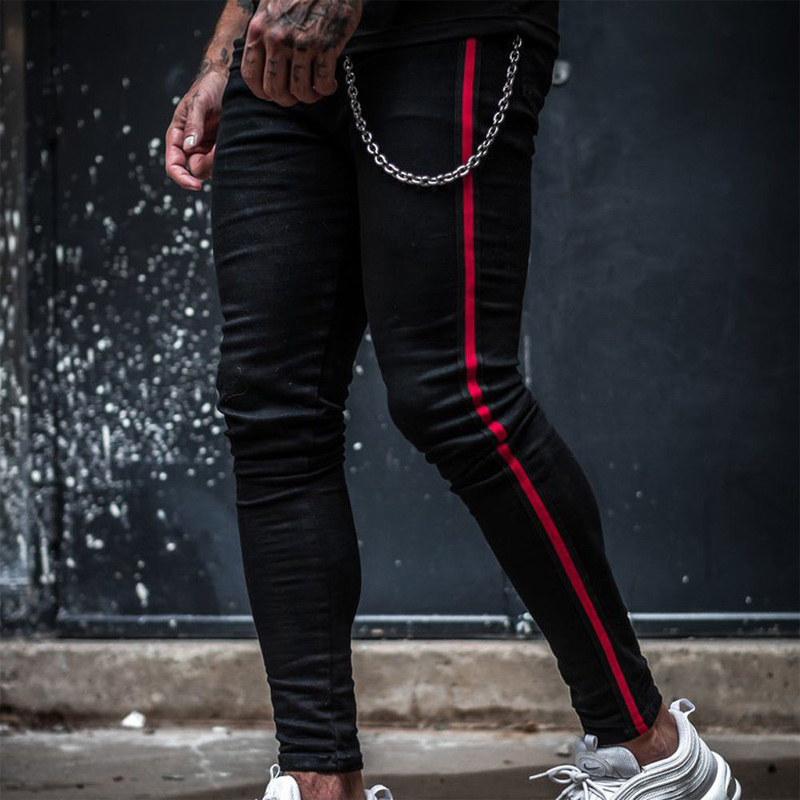 Fashion Men Casual Long Side Red Striped Print Pencil Pants Skinny Trousers Jogger Sweatpants Male