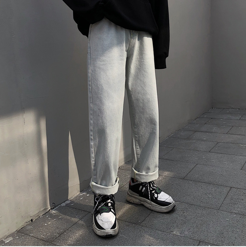 Men 39 s Jeans 2019 Spring New Solid Color Loose Neutral Casual Wide Leg Denim Trousers Straight Feet Youth Casual Men 39 s Clothing in Jeans from Men 39 s Clothing