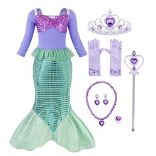 AmzBarley Little Girls Mermaid Princess Ariel dress cosplay Costume Sequins Dress Up Fancy Party Gown Long sleeves Clothes